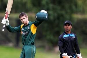 Ollie Newey celebrating his ton v Fiji